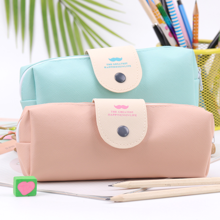 1PC Korean Candy Color Pencil Case Pu Leather Waterproof School Pencil Bag For Girl Stationery Escolar School Supplies