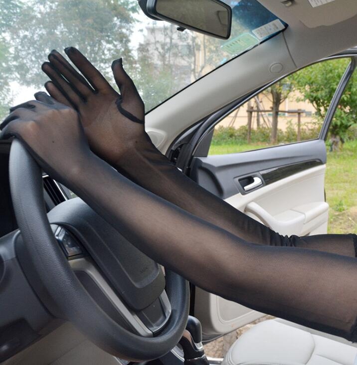 Women's Spring Summer Sunscreen Black Mesh Long Gloves Female Uv Protection Breathable Sexy Perspective Lace Driving Glove R1138