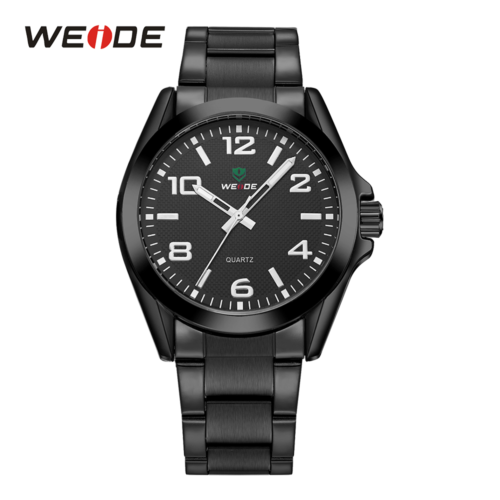 WEIDE Black Sport Men Military Watch Quartz Movement Casual Analog Stainless Steel Band Wrist Watches Fold Over Clasp Round Dial weide wh 2303 stylish stainless steel men s analog quartz wrist watch silver blue 1 x cr2016