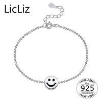 LicLiz Czysta 925 Sterling Silver Smile Twarzy Kostki Piłka Łańcuchy Bransoletka Anklets Foot Zwijające Charms Kobiety Fine Jewelry 2017 LA0006