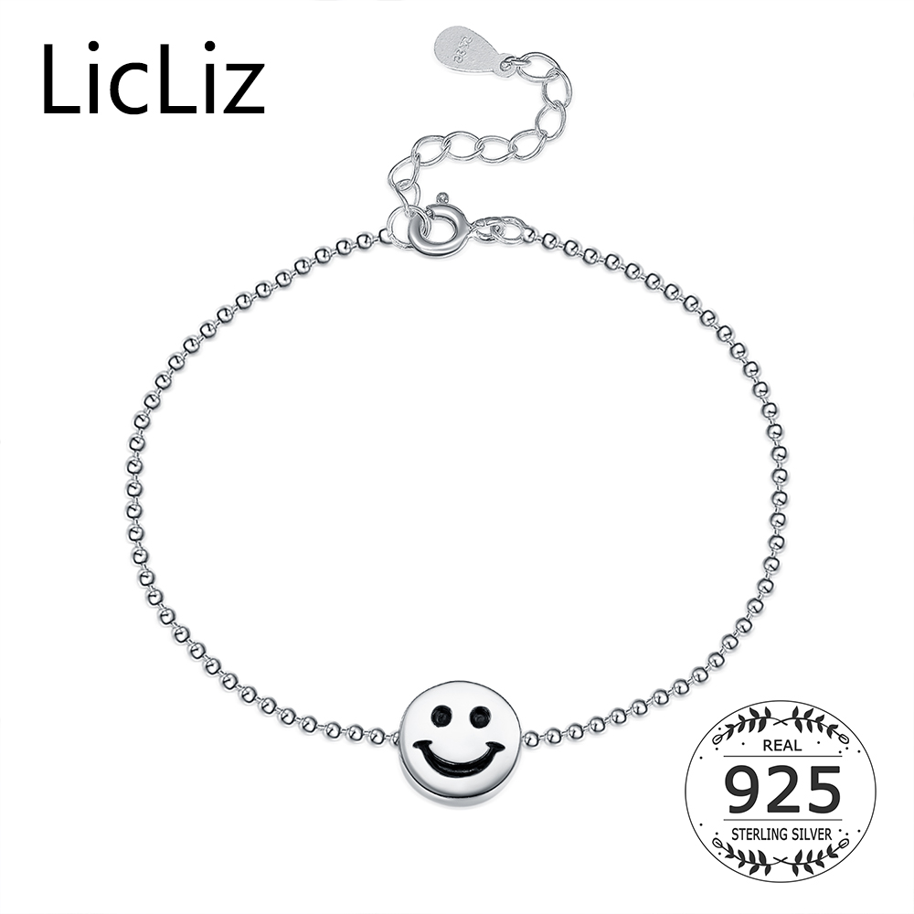 Pure 925 Sterling Silver Smile Face Ankle Ball Chains Anklets Foot Bracelet Round Charms Women Fine Jewelry 2017 LA0006 - Click Image to Close
