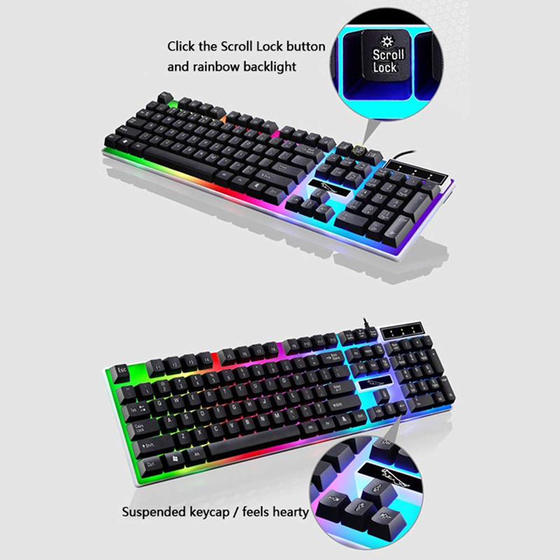 Gaming Keyboard Backlit Mechanical Feeling USB 104 Keycaps USB Wired Professional Gaming Keyboard for PC Desktop Laptop Computer in Keyboards from Computer Office
