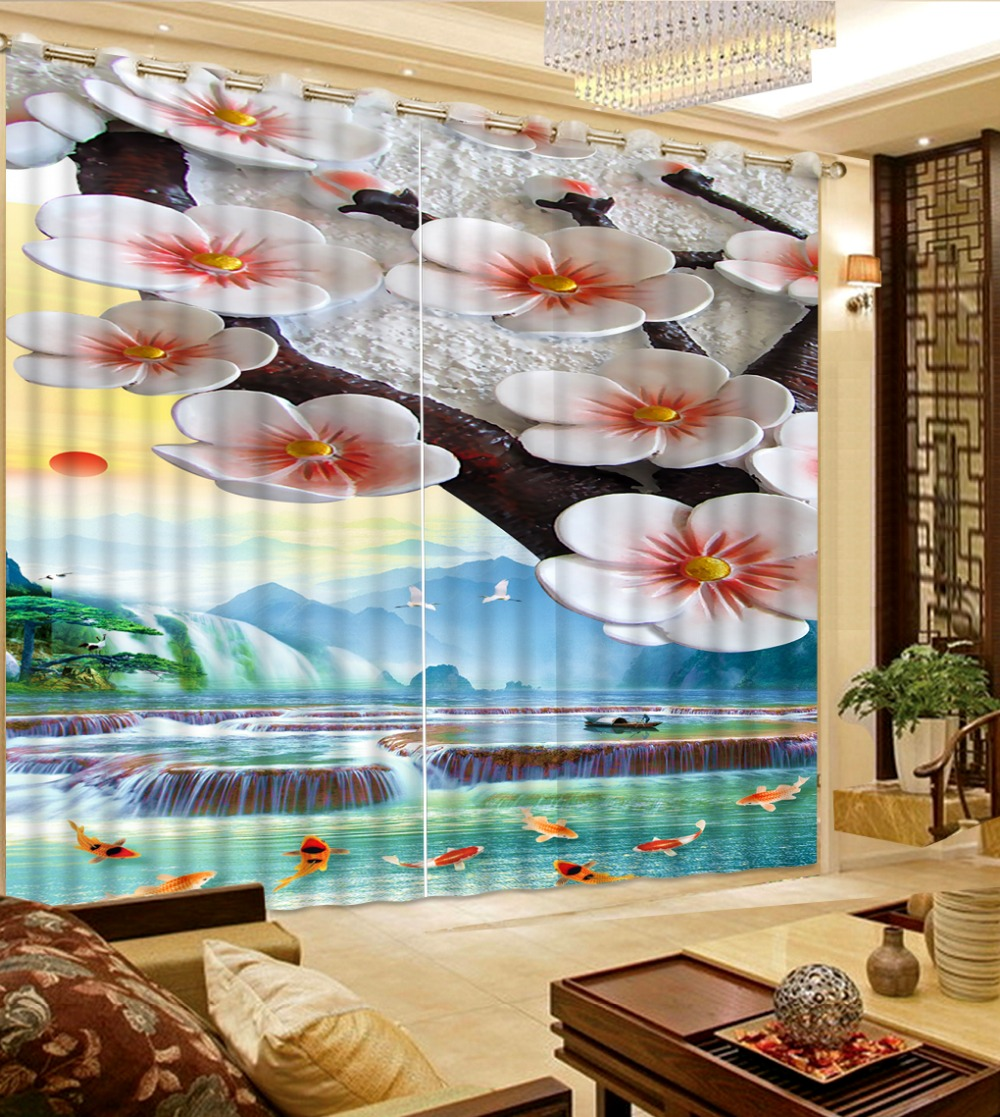 Plum scenery fish flower printing blackout curtains living for Fish curtains for windows