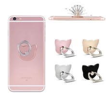 360 Degree Finger Ring Cat Head Ring Cartoon Mobile Phone Smartphone Stand Holder For all Smart Phone Luxury Models(China)