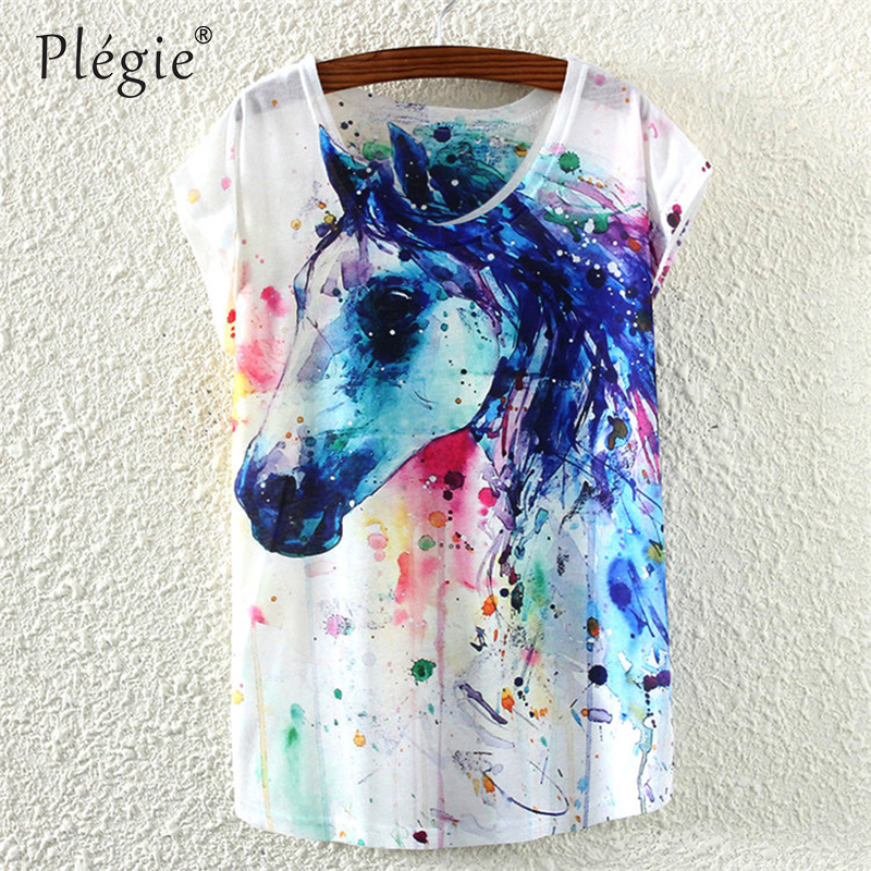 Plegie 2018 Summer Round Collar T Shirt For Women Ink Painting Horse Pattern Print T-Shirt Female Clothes Cute Tops
