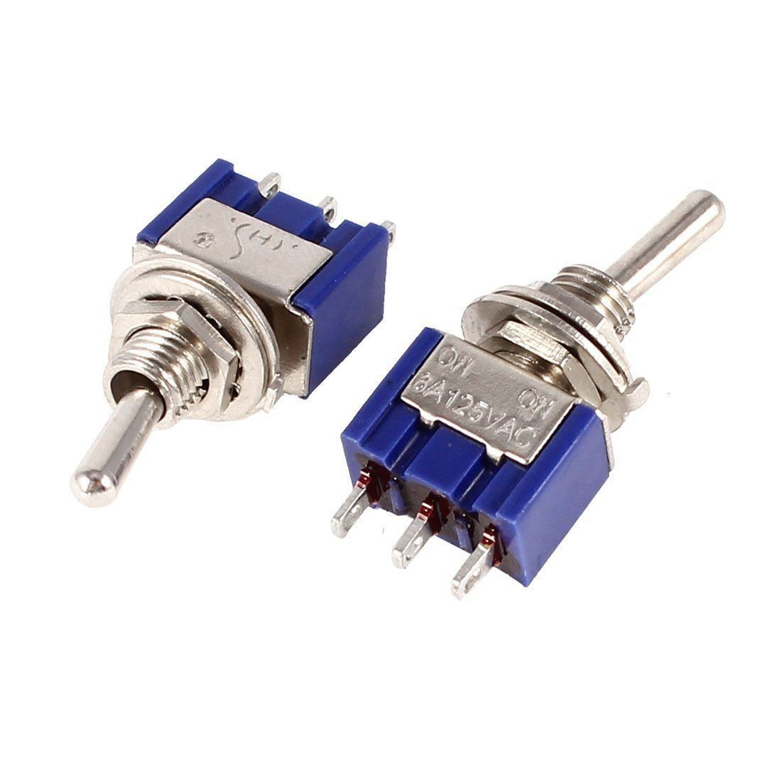 5pcs MTS-102 3Pin 2 Files SPDT ON-ON Mini Toggle Switch 6A 125VAC Mini Switches