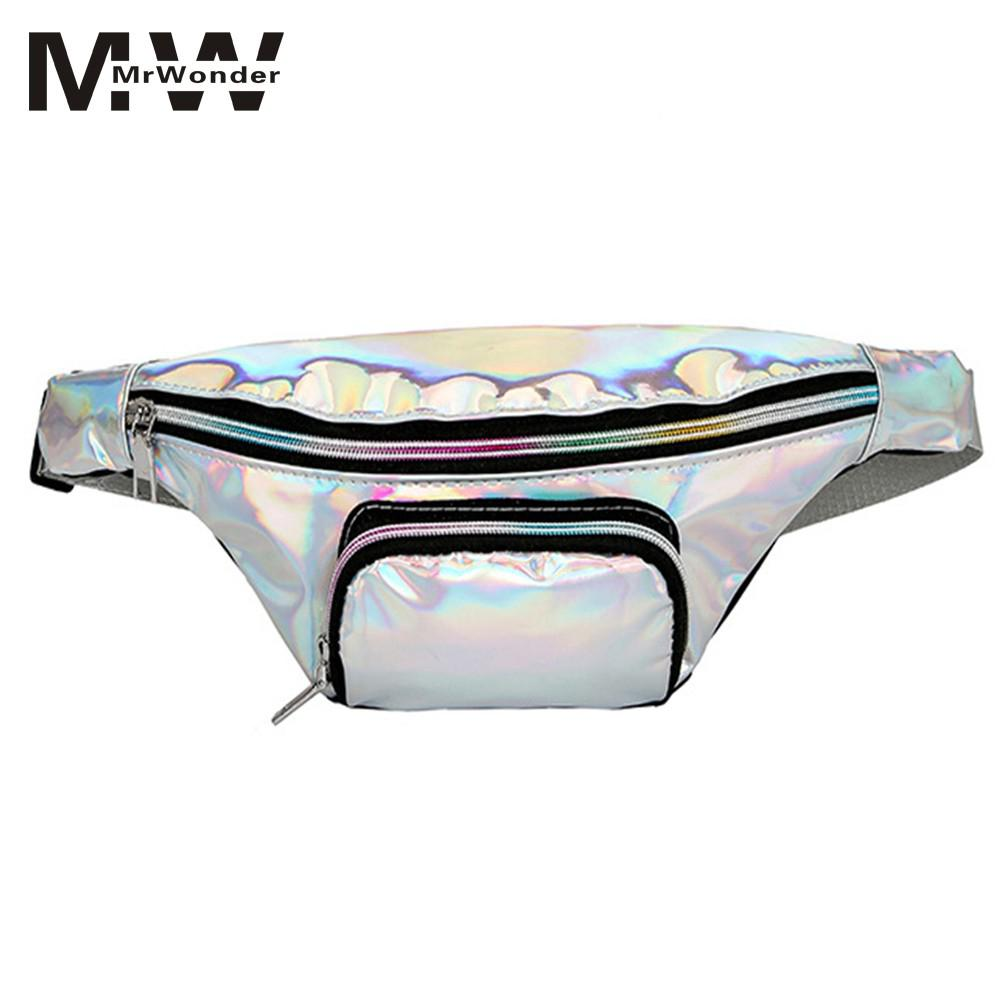 mrwonder Women Waist Chest Bag Handbags Translucent Reflective Laser Fanny Pack Pillow Shape Laser Hologram Waist Bag Cool SAN0