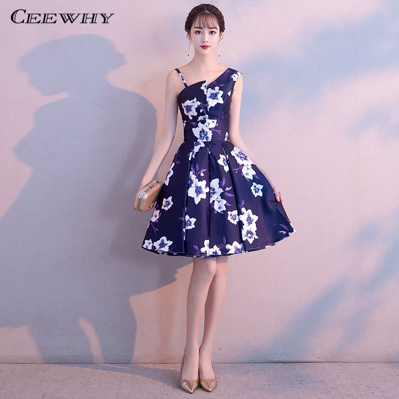 CEEWHY A-Line Satin Formal   Dress   Elegant Knee Length Prom   Dresses   Floral Print   Cocktail     Dresses   Homecoming   Dresses