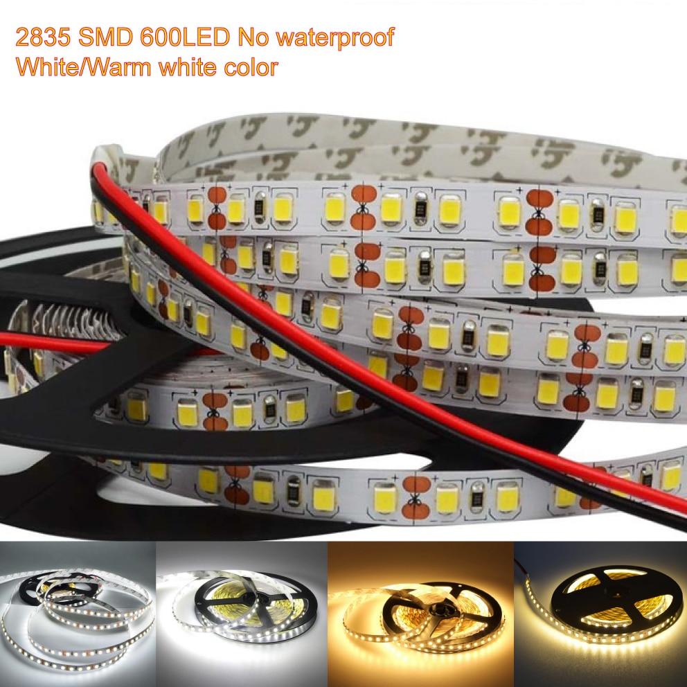 DC12V 8mm LED Strip Lights Not Waterproof SMD 2835 5m 600LED 120L/m brightness Light Tape Flexible Led strip white/Warm/4000K|LED Strips| |  - title=
