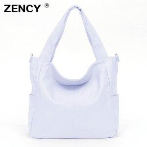 ZENCY большой черный белый цвет 100% натуральная кожа сумки серебряное оборудование роскошная женская сумка через плечо