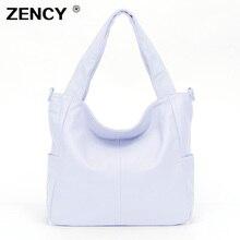 ZENCY Large Black White color Real Genuine Leather Handbags Luxury Famous Brands Women Ladies Satchel Shoulder Messenger Bag