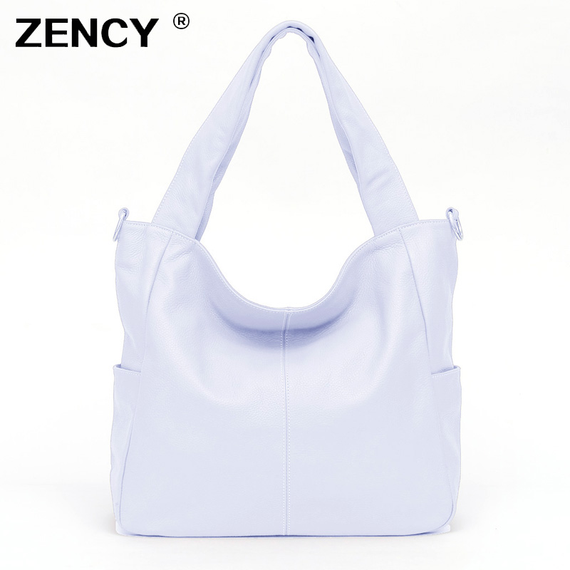ZENCY gran negro blanco color Real cuero genuino bolsos plata Hardware lujo mujeres señoras bolso bandolera-in Cubos from Maletas y bolsas    1