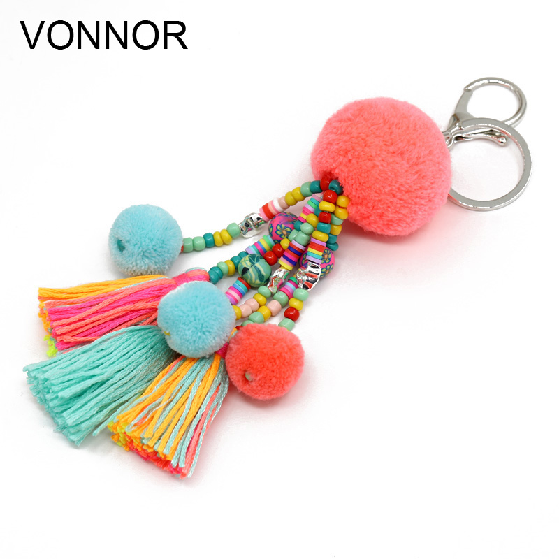 VONNOR Jewelry Boho Keychain Colorful Beads Tassel Pompom Pendant Car Key Chains Bohemian Accessories For Women Bag