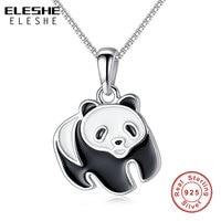 ELESHE Cute 100 Real 925 Sterling Silver Necklace Black White Enamel Panda Necklaces Pendants Women Jewelry
