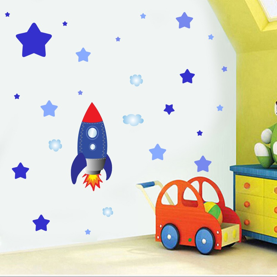 Could Stars Plane Rocket Cartoon Wall Art Decal For Kid Nursery Bedroom Home Decor Vinyl Wall Sticker Removable Modern Wallpaper (5)