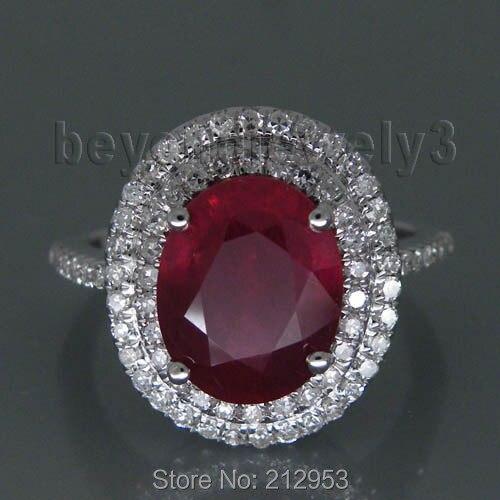 New Vintage Oval 8x10mm Solid 14Kt White Gold Gold Natural Ruby Wedding Ring R0014 new vintage 14kt rose gold diamond kunzite ring wedding ring oval 10x17mm r00324