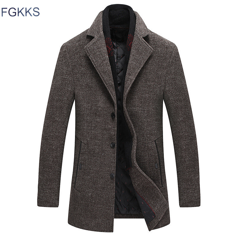 FGKKS Men Winter Wool Coat 2020 Men's New Casual Warm Thick Solid Color Wool Blends Woolen Pea Coat Male Trench Coat Overcoat