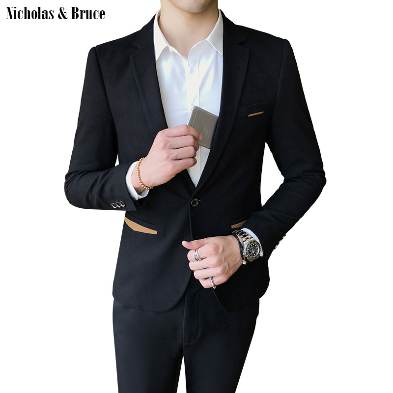N & B пиджак 2019 мужской формальный черный блейзер мужской s Frock пальто Свадебная куртка Мужская Slim Fit деловой костюм пальто платье-пиджак SR23