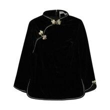 Благородная Женская однотонная верхняя одежда ручной работы на пуговицах, зимняя новая бархатная куртка в китайском стиле, женская блузка с воротником-стойкой, S-XL