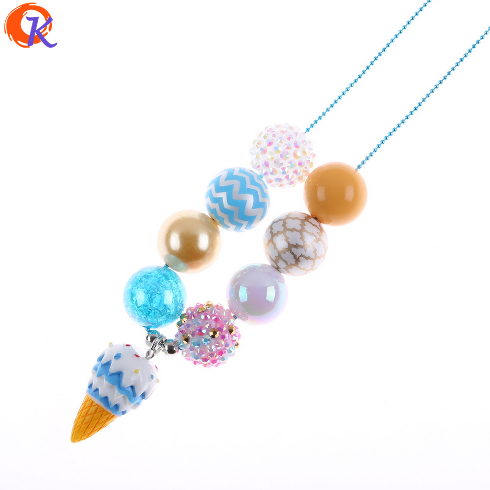 Cordial Design Ice Cream Cone Shape Pendant Summer Theme Necklace Aqua Beaded Necklace For Kids Girls Holiday Jewelry