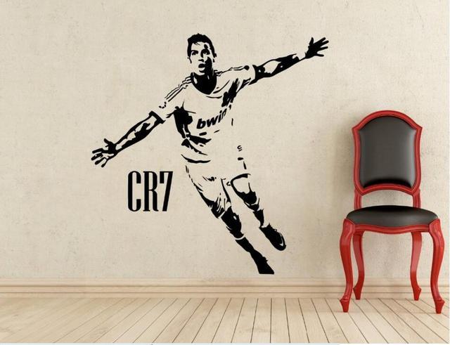 Sport Fußball Kinderzimmer Dekor CR7 Feiern Poster Vinyl Cut Wandtattoos  Cristiano Ronaldo Fußball Aufkleber Schablonen