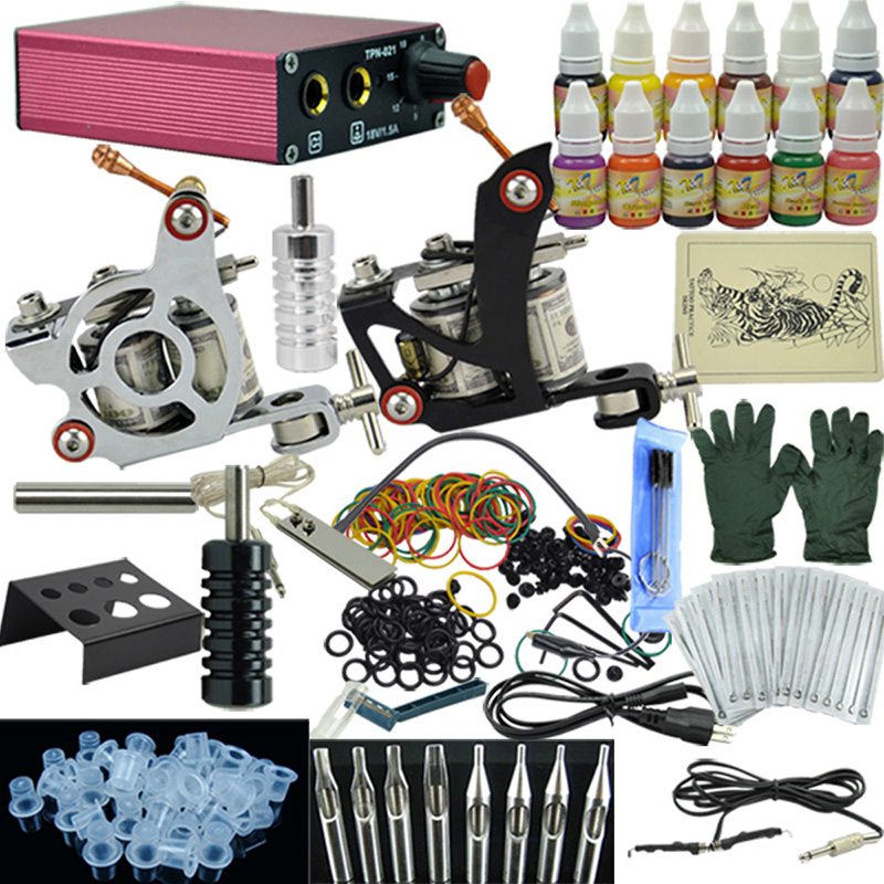 OPHIR Kompletní Tattoo Kit pro začátečníky Body Art Tattoo 2 Tattoo Machine Guns Power Supply 12 Barvy Tattoo Inkousty 50 Needles_TA003
