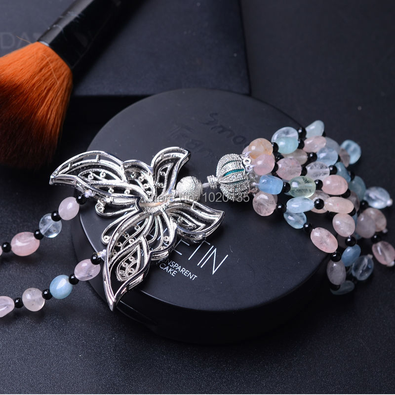 morganite multicolor baroque 4-6mm butterfly pendant necklace 26inch wholesale beads nature gift discount FPPJ wholesale 1 4 2v3a