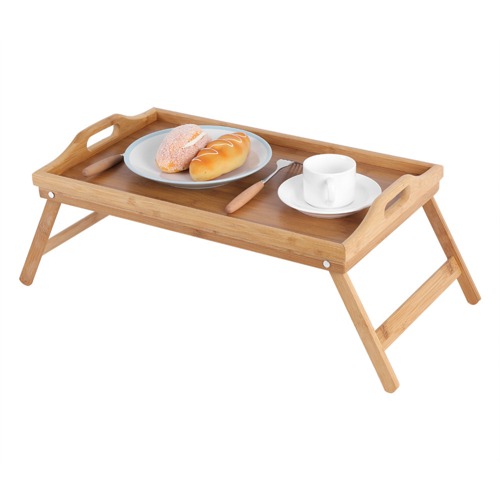 Portable Bamboo Wood Bed Tray Breakfast Dining Table Reading Laptop Desk Tea Food Serving Table Folding Leg Bed Table