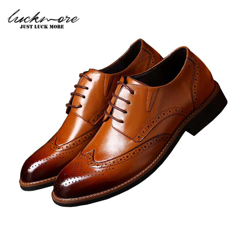 Genuine Leather Mens Brogue Shoes Lace Up Men Loafers Flats Spring Casual Breathable Comfortable Man Footwear High Quality