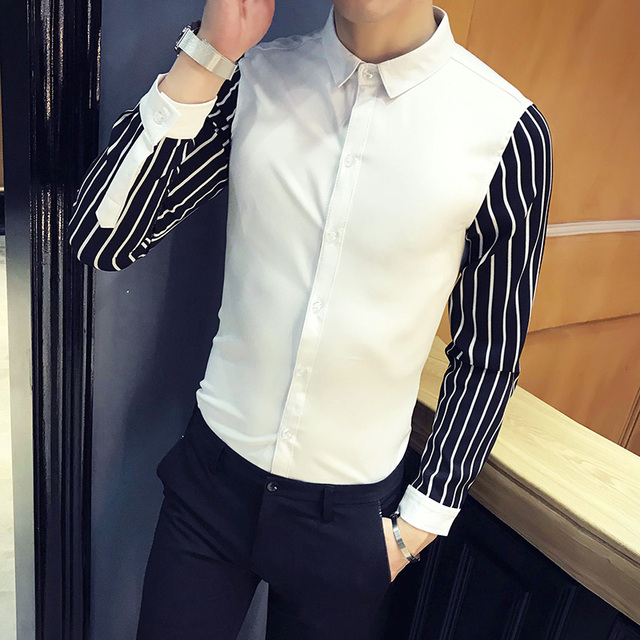 High Quality Men Shirt Spring New 2018 Fashion Casual Work Shirts Mens Stripe Patchwork Long Sleeve Social Shirts Dress Men 5XL 2