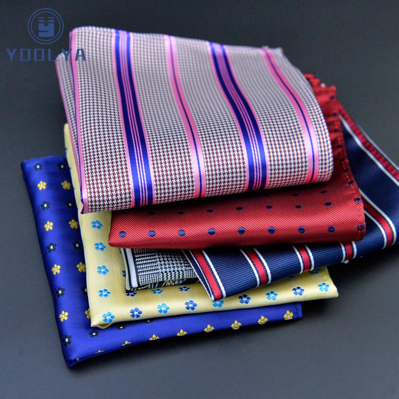 Luxury Mens Silk Handkerchief Hanky Polka Dot Plaid Paisley Jacquard Woven Pocket Square 25*25cm For Wedding Party Chest Towel