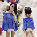 Family clothes 2016 summer mother and daughter boat neck chiffon strapless blouse mom and girl beach sunscreen shirt