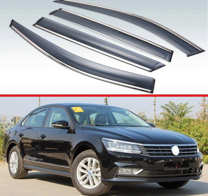 Pour Volkswagen Passat 2011 2018 plastique extérieur visière évent stores fenêtre soleil pluie garde déflecteur 4 pièces|Auvents et abris| |  -