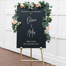 Персонализированные наклейки на знак приветствия, Свадебный декор, виниловые Съемные водонепроницаемые наклейки на свадьбу