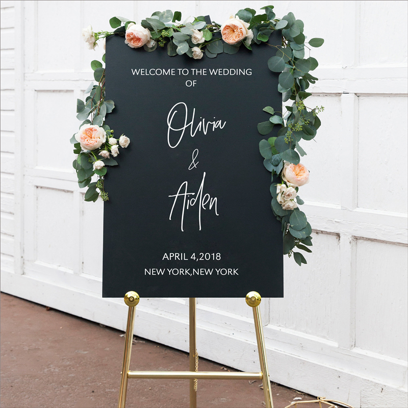 Personalized Welcome Sign Decals Sticker Wedding Decor , Custom Vinyl Removable Waterproof Wedding Reception Welcome Sign Decal