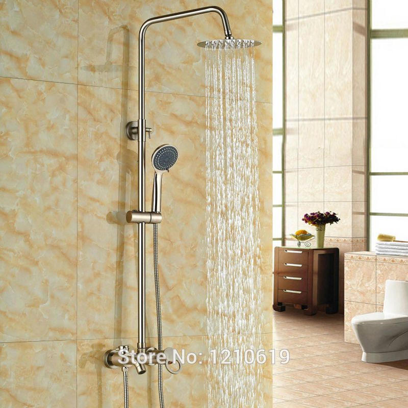 Newly Wall Mount Bath Shower Faucet Set w/ Hand Sprayer Nickel Brushed 8 Shower Mixer Tap Single Handle brushed nickel waterfall shower mixer taps wall mount single handle with handshower bath shower faucet set