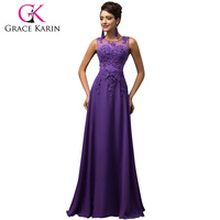 Grace Karin Plus Size Appliques Beading Chiffon Long Evening Dress Formal Party Prom Gowns Robes De Soiree Evening Dresses 2018