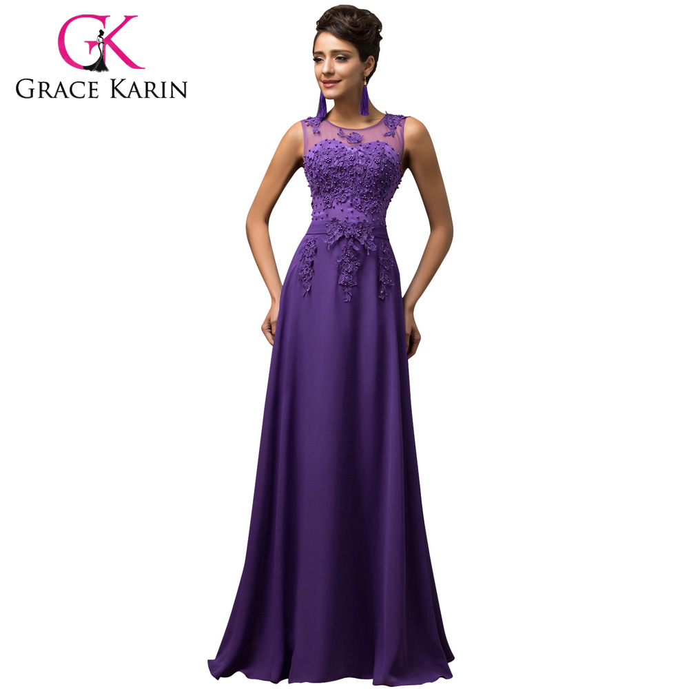 Gracia Karin más tamaño Appliques rebordear gasa vestido de noche ...