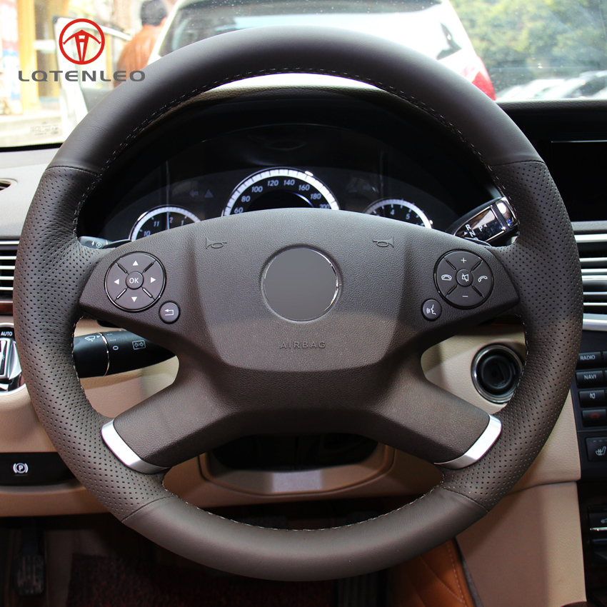 LQTENLEO Black Genuine Leather DIY Hand stitched Car Steering Wheel Cover for Mercedes Benz E Class