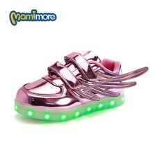 Clignotant Sneakers Shoes Enfants LED Lumineux Led Lumière Shoes 2017 Nouveau Coloré Aile Garçon Fille Casual Shoes tenis masculino esportivo