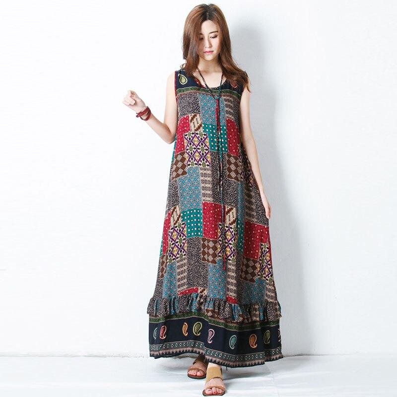 ZANZEA Summer Bohemian Print Women O Neck Sleeveless Loose Beach Maxi Long Dress Elegant Ruffles Party Casual Sundress Plus Size