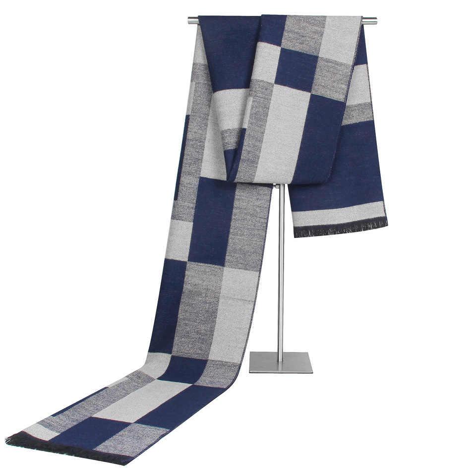 Мужской высококачественный деловой шарф, клетчатые зимние полосатые шарфы, хлопковые мужские брендовые теплые шали и кашемировый шарф, Bufandas