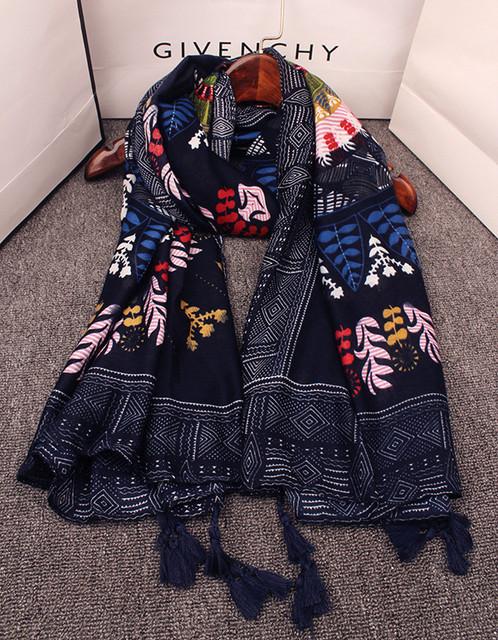 2016 vintage 70 s étnicos cachecol hijab Designer preto longo floral impressão cachecol silencioso cape shawl enrole presentes de aniversário Coreano cachecol