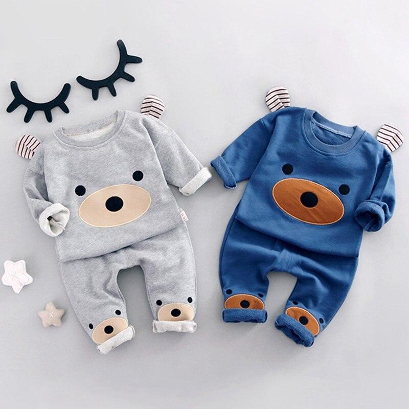 Комплекты для детей, хлопковая толстовка с рисунком медведя для девочек + повседневные штаны, Детские комплекты из 2 предметов для мальчиков, повседневные спортивные костюмы для новорожденных, roupas de bebe