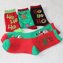 free shipping 300PCS/LOT Women Cotton Socks Christmas Donuts Deer Creative Long Black Red Socks Ladies Female Gift Hosiery