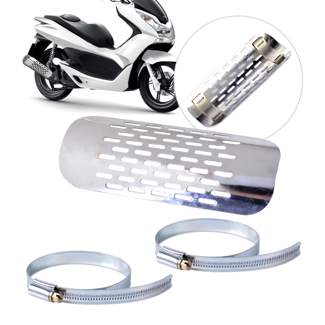 CITALL Silver font b Exhaust b font Muffler Pipe Heat Shield Cover Guard Fit For Harley