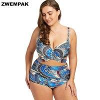 Plus Size Wrap Underwire Ladies High Waist Bikini Large Retro Printed Swimming suits For Women 2018 female Bath suit XL to 5XL