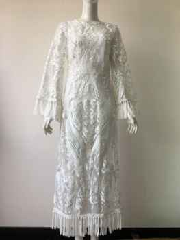 Summer Beach Dress 2019 Sexy Cover Up Dresses Swim Wear Heavy Industries Lace Tasseled Bell Long Sleeve White Lace Solid