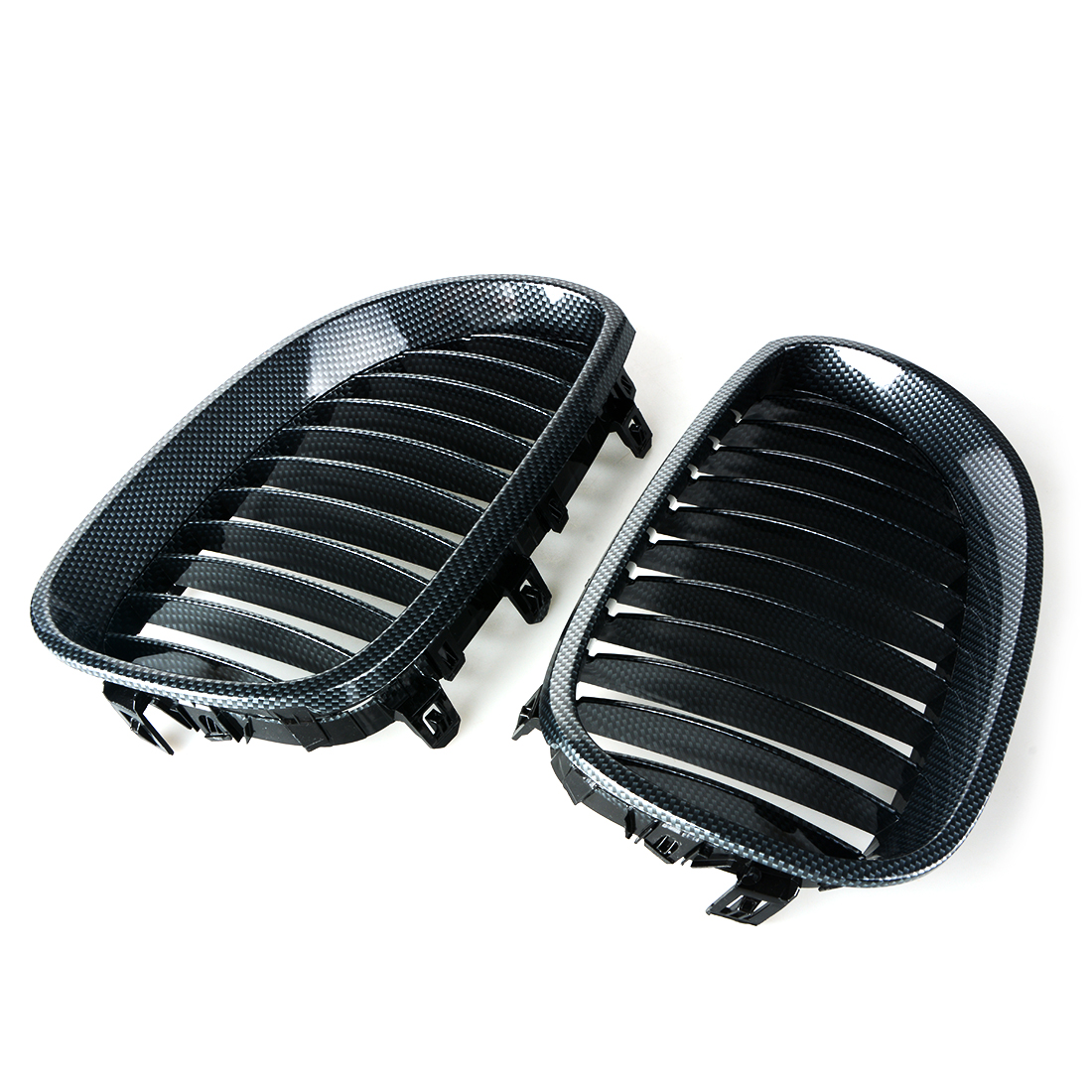 1 Pair Auto Replacement Parts Racing Grills Car Front Kidney Grille Carbon Fiber Grilles For BMW 5 Series E60 2003-2009