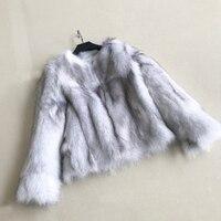 Пальто мех настоящий натуральный мех пальто женский лисий мех куртка натуральный Лисий мех пальто ksr476
